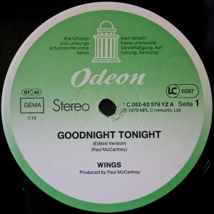 Good Night Tonight Odeon Label