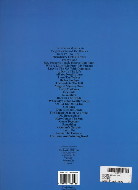 Beatles 1967-1970 book rear