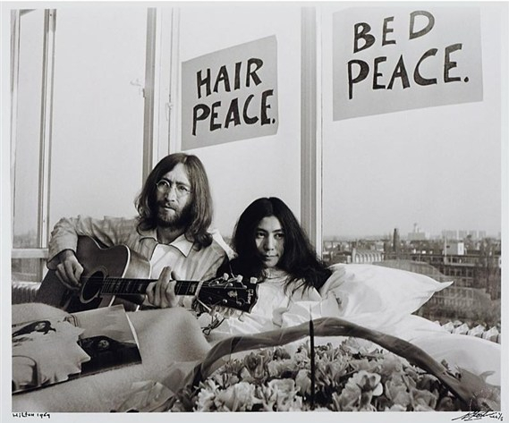 beatles with records Lennon