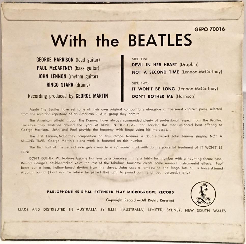 The Beatles With The Beatles Australian Ep Beatles Blog