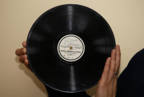 Beatles sale. File photo dated 21/02/16 of an 78RPM Beatles acetate, considered to be the record that launched the Beatles, and one of the rarest and most collectable of all Beatles records, which was sold by Omega Auctions to a UK collector for £77500 against an estimate of £10000. Issue date: Tuesday March 22, 2016. Photo credit should read: Peter Byrne/PA Wire URN:25895790