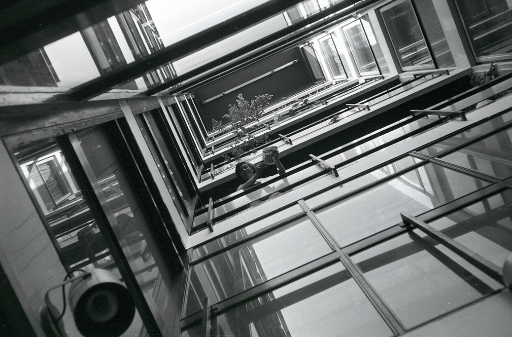 Galerry Bandleader Joe Loss posing on the EMI stairwell in 1961